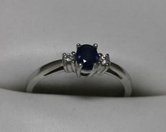 Beautiful Sapphire and Diamond Ring 14K White Gold