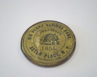 1890 - 1910 Six Penny Savings Bank Astor Place, NY Advertising Pocket Mirror
