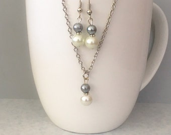 Gray Bridesmaid necklace set, gray necklace set, gray bridesmaid jewelry, gray necklace, pearl necklace