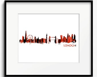 London Skyline Watercolor Art Print (455) Cityscape United Kingdom