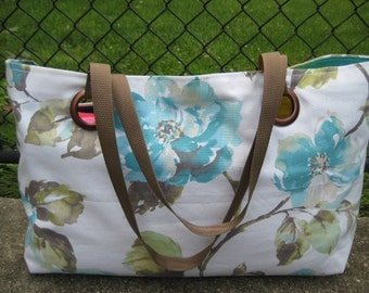 Extra Large / White With Blue Flowers/ Weekend Tote Bag