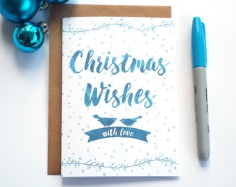 Watercolor Christmas Card, Christmas Wishes