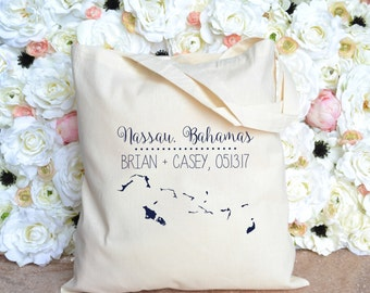 Personalized Wedding Tote Bahamas - Destination Wedding Welcome Tote