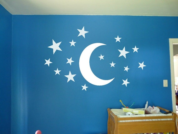 Moon and stars wall vinyl decal sticker kids room starry for Amazing look with moon and stars wall decals
