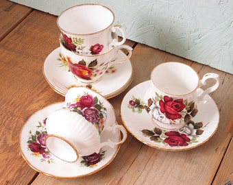 Vintage Mismatched Teacups. Set of 4. Red Roses High Tea Cups and Saucers Bridal Shower Tea Set