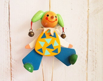 Vintage wooden pull string doll - Jumping Jack - clown - wooden toy