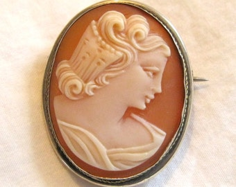 Antique shell cameo silver brooch pin pendant cameo jewelry