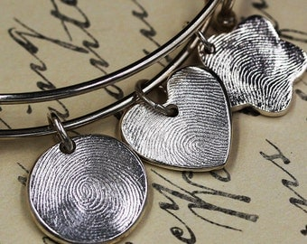 Fingerprint Jewelry .999 Fine Silver Charm with .925 Adjustable Charm Bracelet Personalized Keepsake