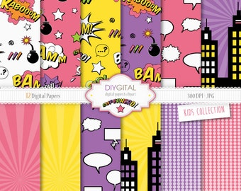 Superhero GIRL Digital Paper Set- 12 Digital Papers with action words, comic sound effects, buildings-For scrapbooking, graphics,cards
