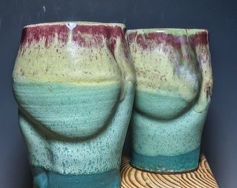 Set of Multilayered, Altered, stoneware Tumblers