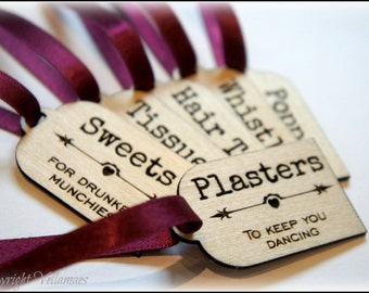 Wooden Bride Survival Kit Tags, Bride Gift, Hen Night, Bride To Be Gift, Hen Party Tags, Hen Party Gift