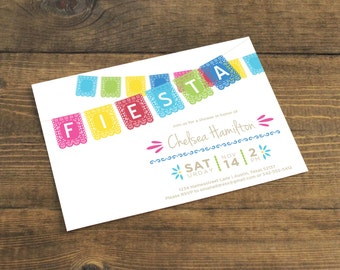 Bridal Shower Invitation (Printed with Envelopes) --Mexican Paper Banner--