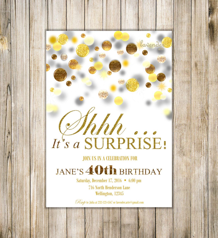 SURPRISE 40th 50th 60th BIRTHDAY Invitations, Digital Gold Glitters ...