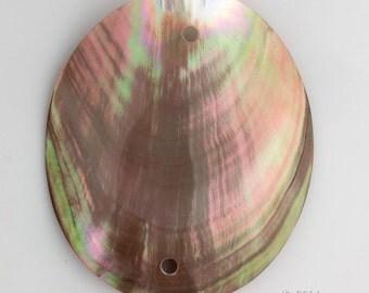 Vintage large iridescent shell pendant 83x78mm. b15-she350(e)