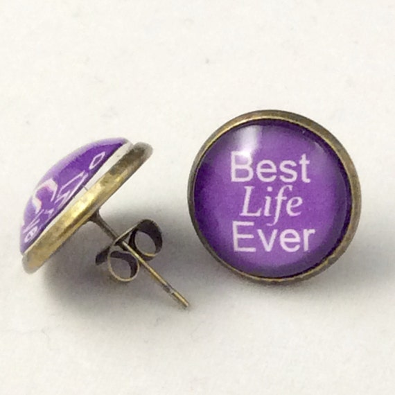 JW Best Life Ever Post Earrings 14mm Glass, Antique Brass or Silver tone metal. Blue Velvet Gift Bag Included! Choice of 5 colors