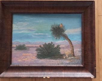 Mid Century Desert Plant Foliage  Scene Original Painting Wood Frame Wall Art