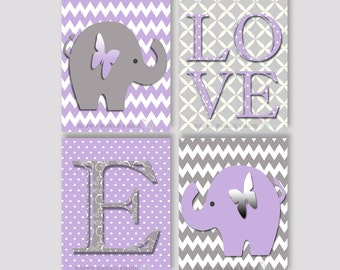 Elephant nursery wall print, baby girl canvas art,purple and grey elephant,personalized wall print, elephant crib bedding,girls wall art 107