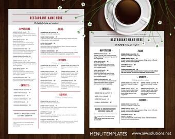Restaurant Menu Etsy - Restaurant brochure template