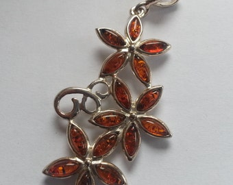 Sterling Silver Baltic Amber Three Flower Pendant