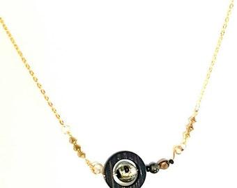 Glass Beaded Mixed Media Pendant Necklace