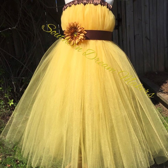 Items similar to yellow flower girl dress country chic for Sunflower dresses for wedding