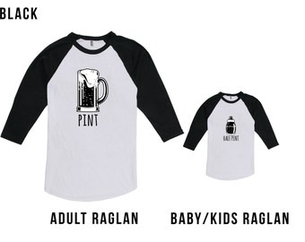 Pint and Half Pint Matching Fathers Day Set - Baby Bottle Half Pint, Gifts for Dad, Gifts for Him, Fathers Day, not Bodysuit CT-320 - 450