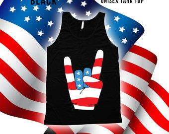 Fourth of July Rock n Roll Tank - 4th of july tank tops for women, men, kids, fourth of july, american flag, 4th of july tank top -CT-486