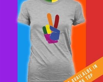 Peace Sign Shirt - Gay Pride Ally t-Shirt, Gay Pride Clothing,Gay Pride Merchandise,Mens Womens Shirts, gay pride parade, Lgbt shirts CT-491