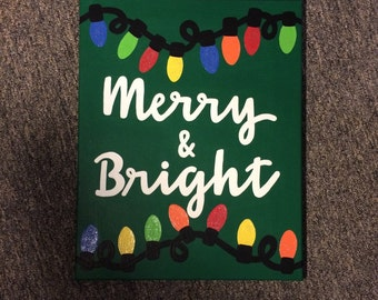 Merry & Bright Holiday Canvas Quote // Ready to Ship!