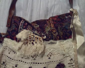 Pattern and crochet fabric handbag