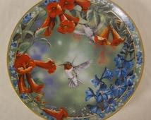 "Grende's ""Precious Visions Hummingbird"" Porcelain Plate - Brilliant Moment 1995"