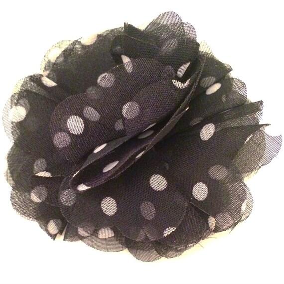 Black Flower Hair Accessory J7213: Black And White Polka Dot Hair Clip Flower Fluttet Hair