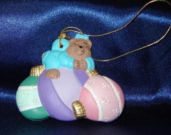 Baby Teddy Bears Ornament - Asleep on Ornament - Ceramic Ornaments - Christmas Ornaments - Bear Ornaments