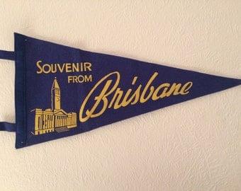 Vintage Brisbane, Queensland, Australia Museum Pennant Flag