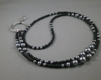 Black and gray beaded lanyard, ID badge holder , keychain lanyard,  select size, name tag necklace, lanyard for keys,gift under 20 for women