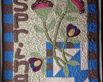 """Handmade """"SPRING"""" appliqued quilted wall hanging"""