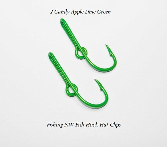2 candy apple lime green colored fish hook hat clips by for Fishing hook hat clip