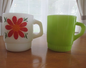 Fire King Green and Flower Stacking Mug Set of 2