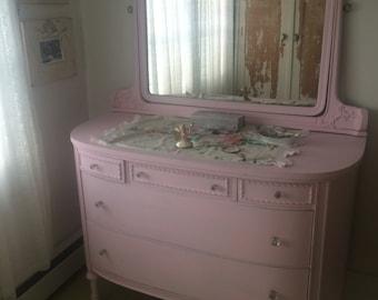 Vintage Baby Pink Dresser w Mirror