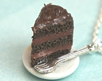 chocolate cake necklace- miniature food jewelry, cake necklace