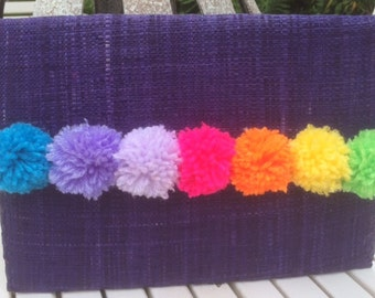 Pom Pom Raffia Clutch Bag, Purple Raffia, Hand Finished RR219