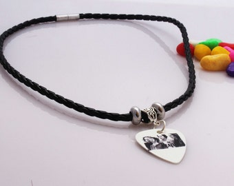 The Beatles Guitar Pick Necklace -  Customise with Chain Or Leather Choker
