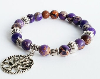Tree of life bracelet, lilac purple jasper gemstone bracelet, stretch bracelet, beaded bracelet, boho bracelet, everyday bracelet.