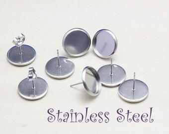 STAINLESS Steel Earring Stud Bezel Settings - Surgical Steel Blank Bezel - 100PCS hypoallergenic Earring Post - Earring Studs Back Included