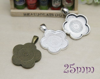 1inch 25mm Flower Vintage Pendant Blanks - Blank Bezel Cabochon - 1inch Pendant Tray -Cameo Cabochon Base Settings