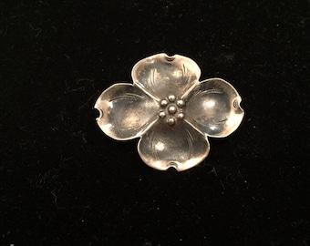 Vintage sterling silver dogwood brooch