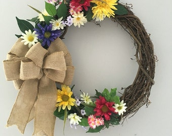 Country floral burlap wreath