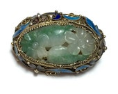 Antique Carved Floral Pattern Jade set in Gold-plated Sterling Silver and Enamel Brooch