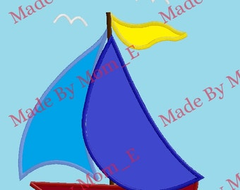 Sail Boat in Water Applique