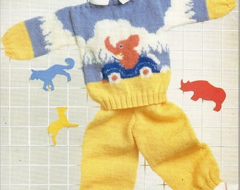 baby knitting pattern pdf baby sweater & trousers set elephant motif 19-22 inch DK instant download